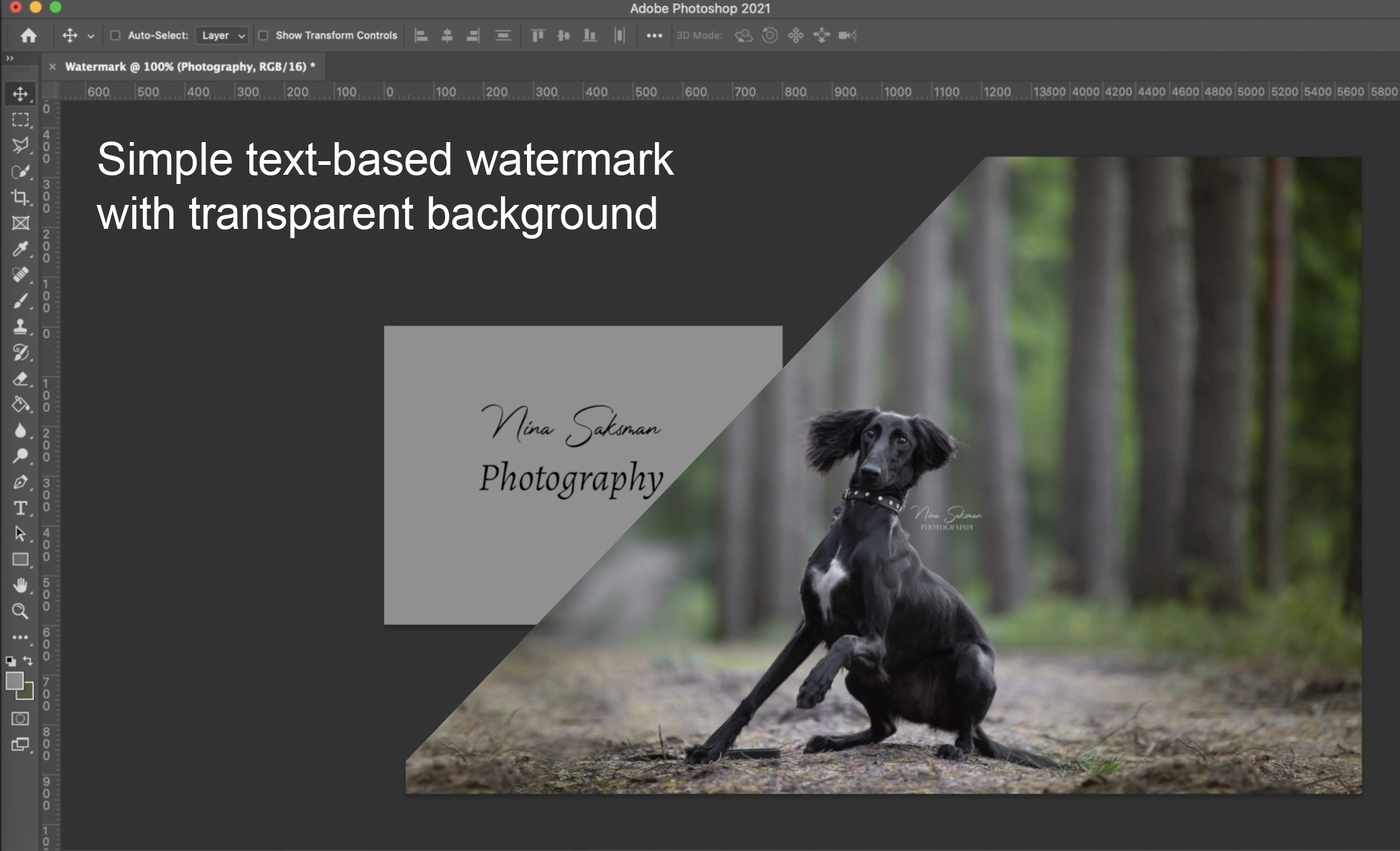 Simple text-based watermark tutorial (Adobe Photoshop CC required)